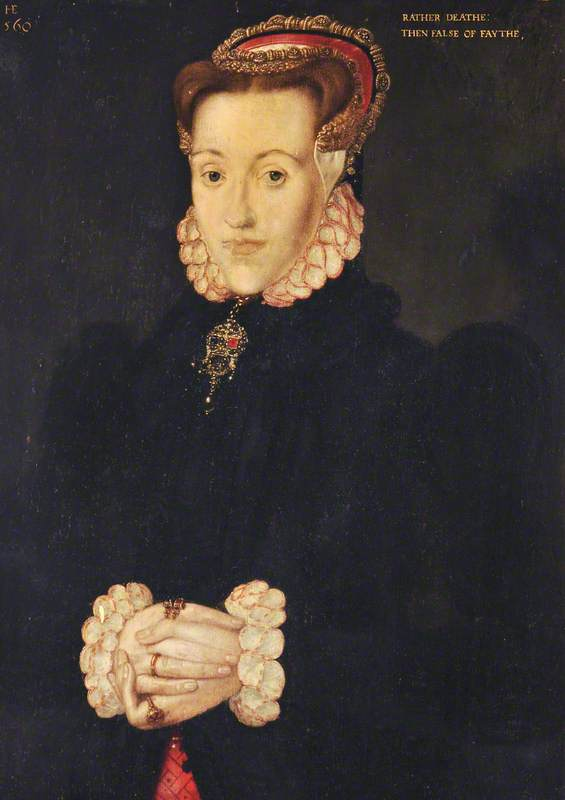 Portrait of a Lady, Called Anne Ayscough or Askew (1521–1546), Mrs Thomas Kyme' (Hans Eworth, 1560) (Source)